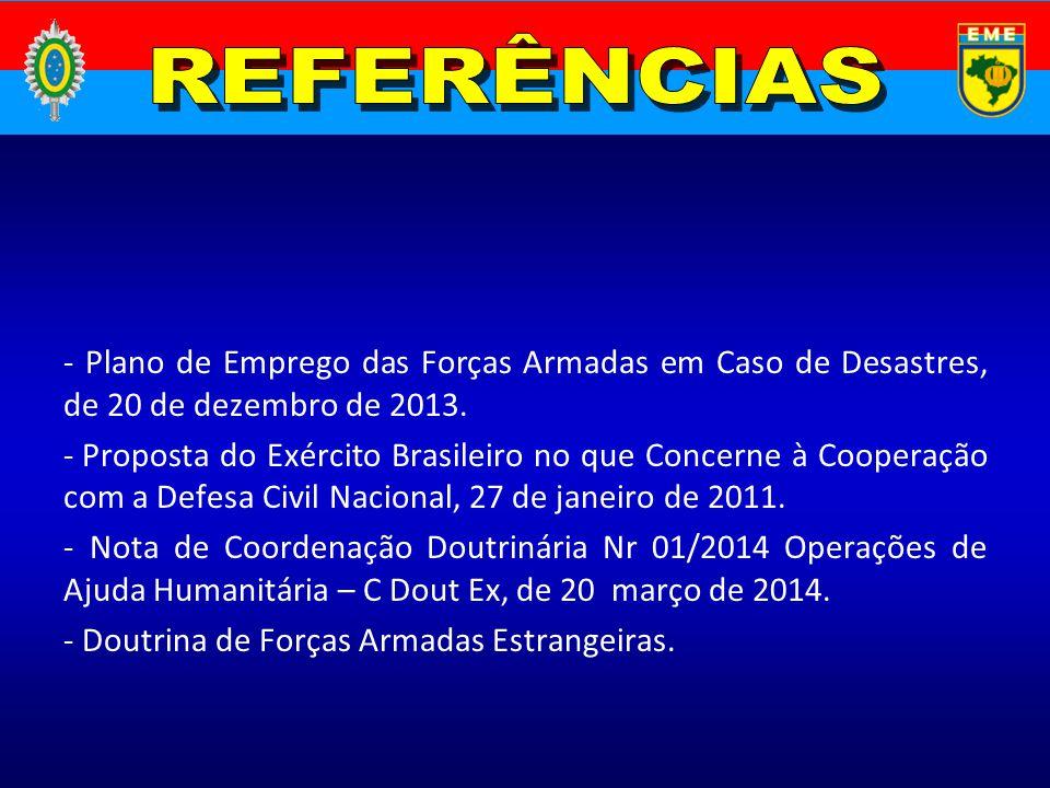 REFERÊNCIAS - Plano de Emprego das Forças Armadas em Caso de Desastres, de 20 de dezembro de 2013.