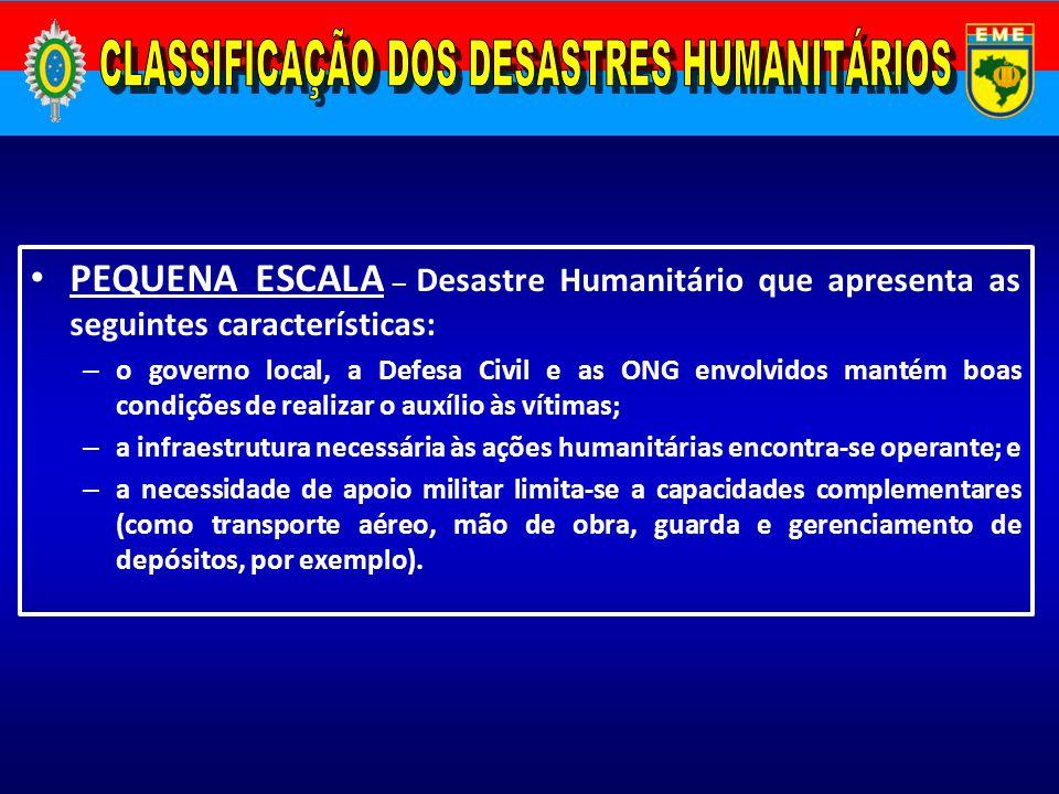CLASSIFICAÇÃO DOS DESASTRES HUMANITÁRIOS
