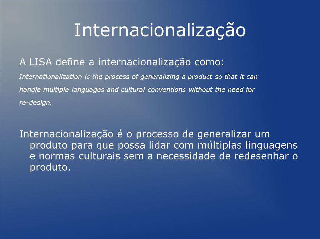 Internacionalização A LISA define a internacionalização como: