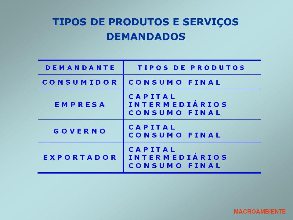 TIPOS DE PRODUTOS E SERVIÇOS DEMANDADOS
