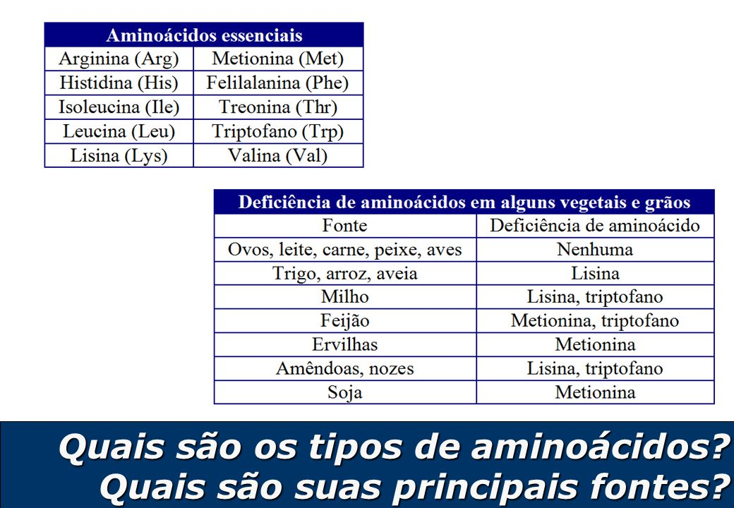 Quais são os tipos de aminoácidos