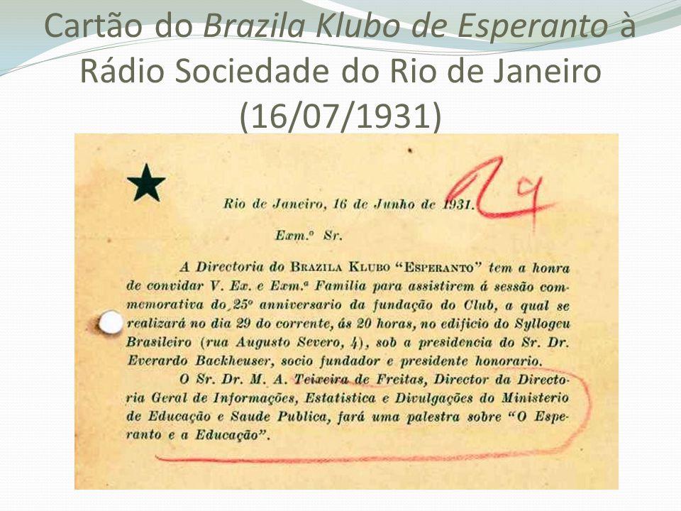 Cartão do Brazila Klubo de Esperanto à Rádio Sociedade do Rio de Janeiro (16/07/1931)