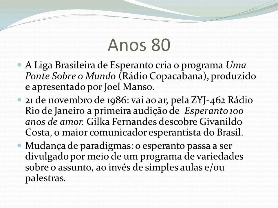 Anos 80 A Liga Brasileira de Esperanto cria o programa Uma Ponte Sobre o Mundo (Rádio Copacabana), produzido e apresentado por Joel Manso.