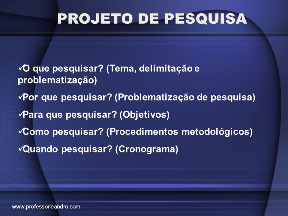 PROJETO DE PESQUISA O que pesquisar (Tema, delimitação e problematização) Por que pesquisar (Problematização de pesquisa)
