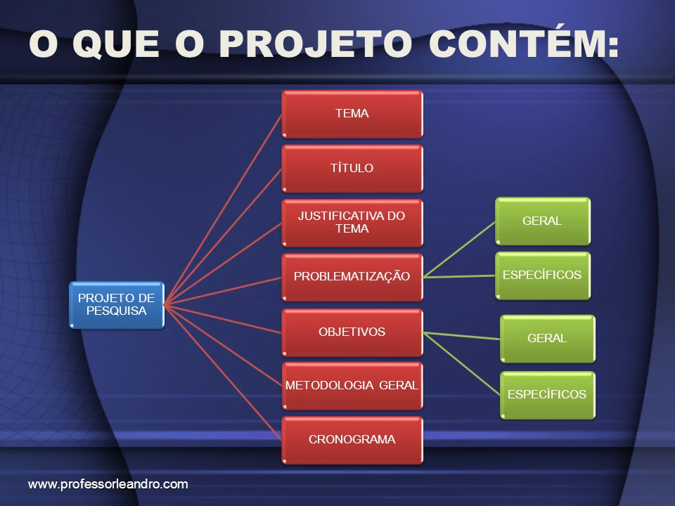 O QUE O PROJETO CONTÉM: www.professorleandro.com PROJETO DE PESQUISA