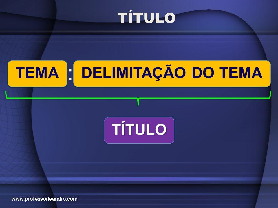 TÍTULO : TEMA DELIMITAÇÃO DO TEMA TÍTULO www.professorleandro.com