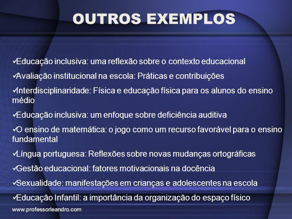 OUTROS EXEMPLOS Educação inclusiva: uma reflexão sobre o contexto educacional. Avaliação institucional na escola: Práticas e contribuições.