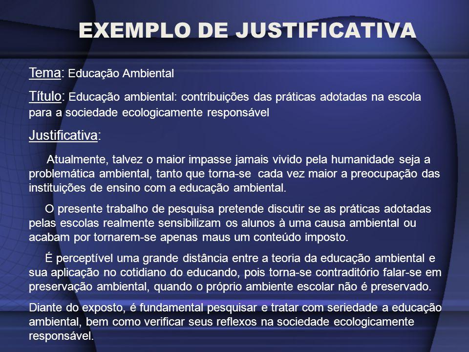 EXEMPLO DE JUSTIFICATIVA