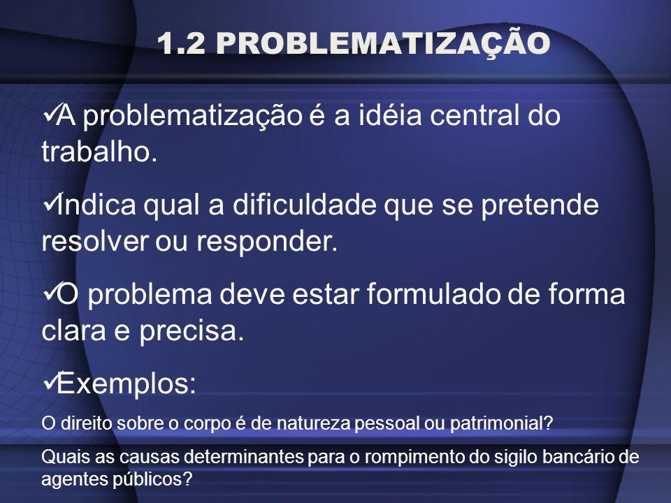 A problematização é a idéia central do trabalho.