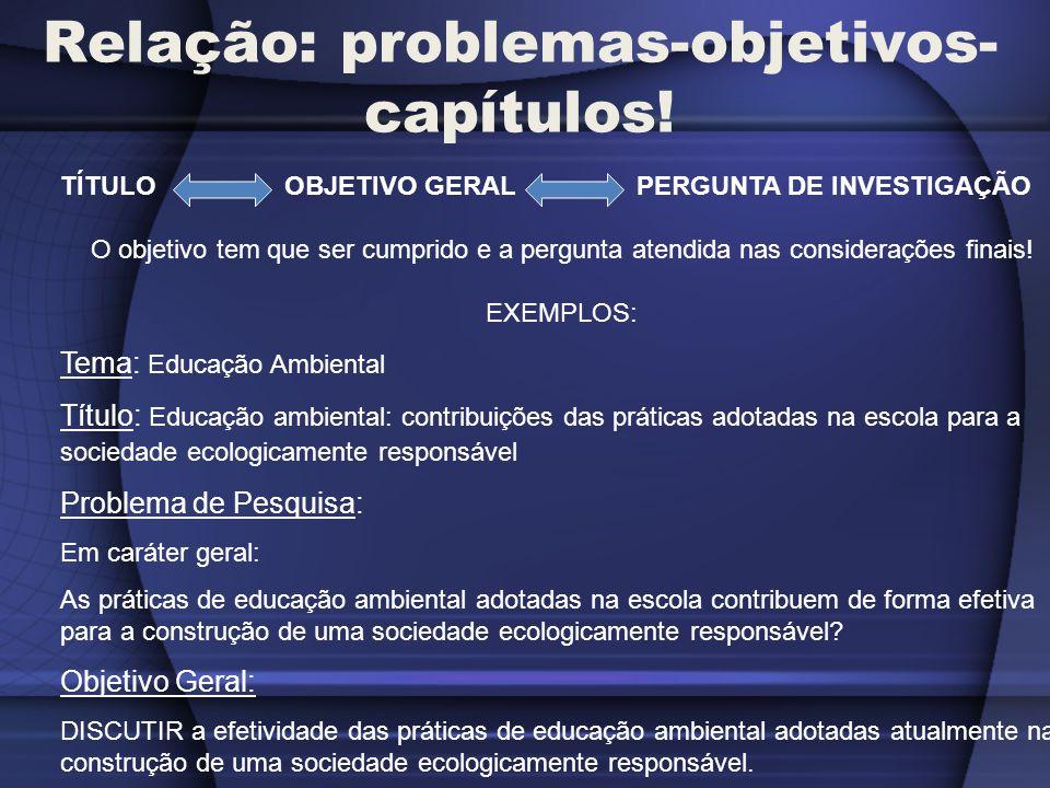 Relação: problemas-objetivos-capítulos!