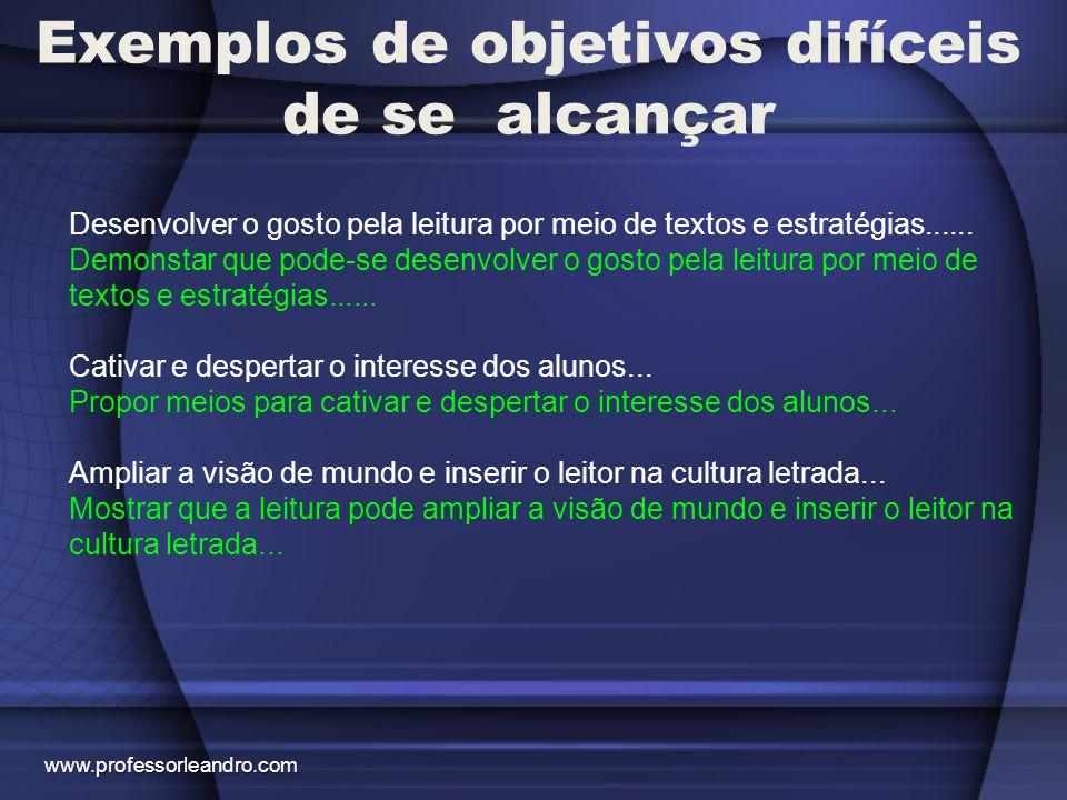 Exemplos de objetivos difíceis de se alcançar