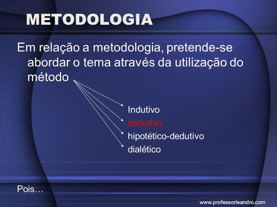 METODOLOGIA Em relação a metodologia, pretende-se abordar o tema através da utilização do método. Indutivo.