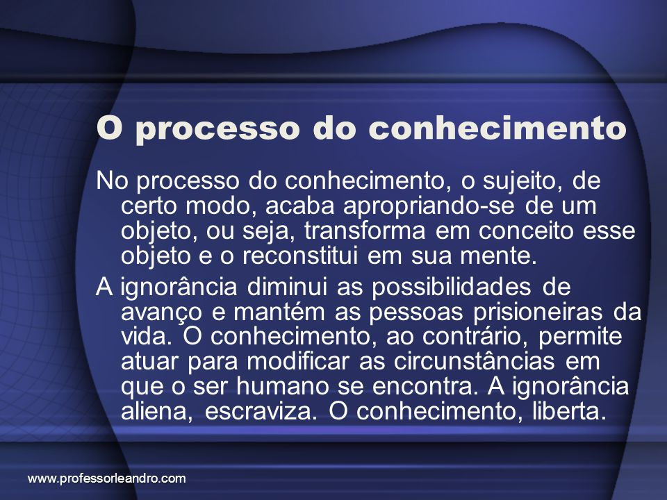 O processo do conhecimento