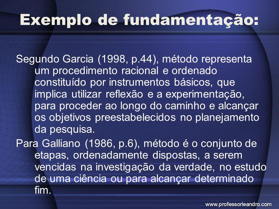Exemplo de fundamentação: