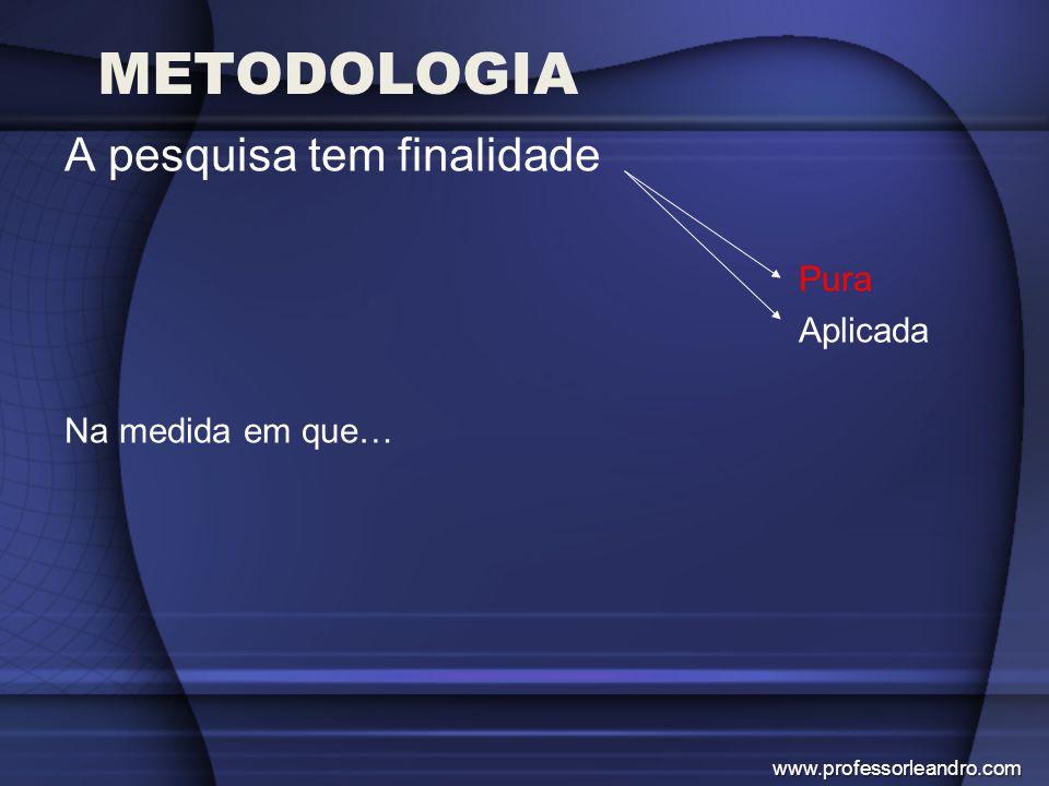 METODOLOGIA A pesquisa tem finalidade Pura Aplicada Na medida em que…