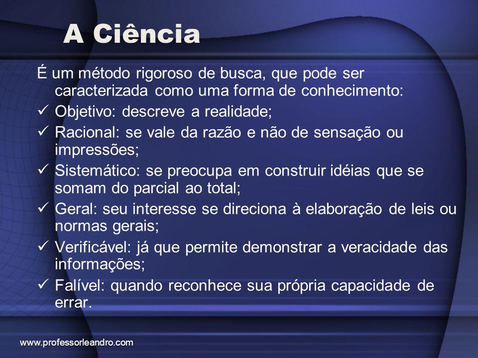 A Ciência É um método rigoroso de busca, que pode ser caracterizada como uma forma de conhecimento: