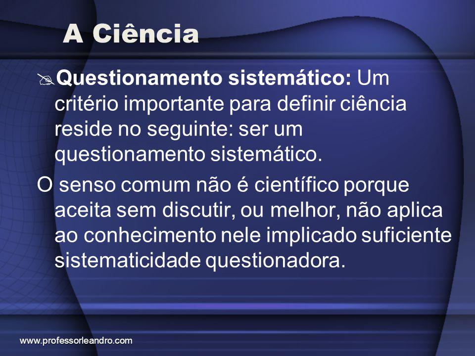 A Ciência Questionamento sistemático: Um critério importante para definir ciência reside no seguinte: ser um questionamento sistemático.