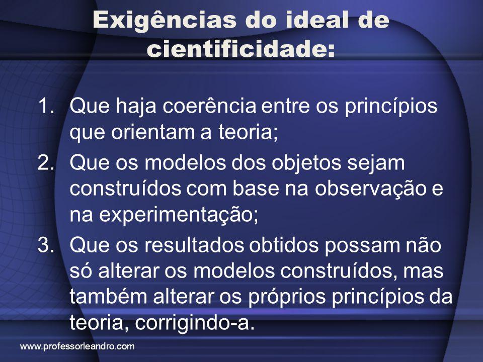 Exigências do ideal de cientificidade: