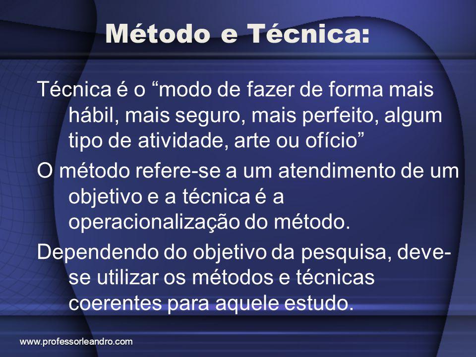 Método e Técnica: Técnica é o modo de fazer de forma mais hábil, mais seguro, mais perfeito, algum tipo de atividade, arte ou ofício