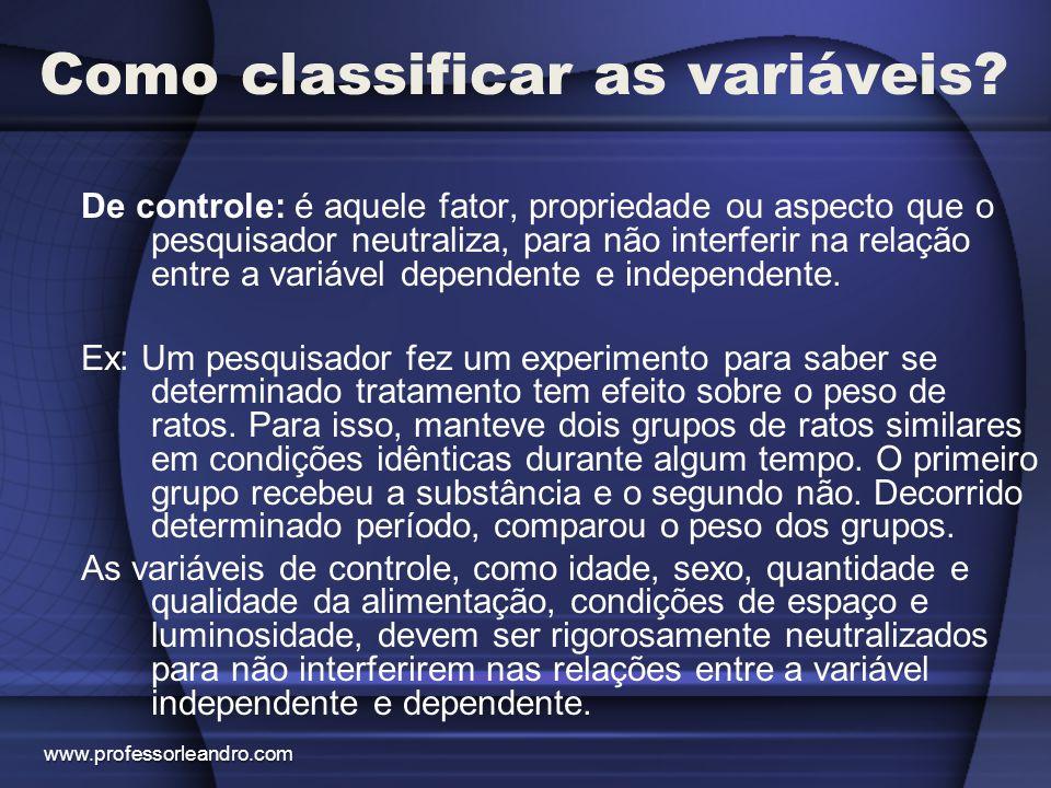 Como classificar as variáveis