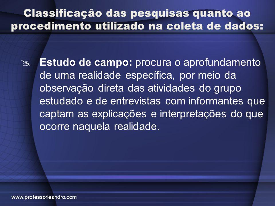 Classificação das pesquisas quanto ao procedimento utilizado na coleta de dados: