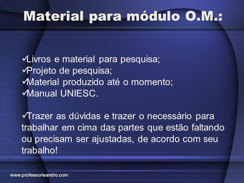 Material para módulo O.M.: