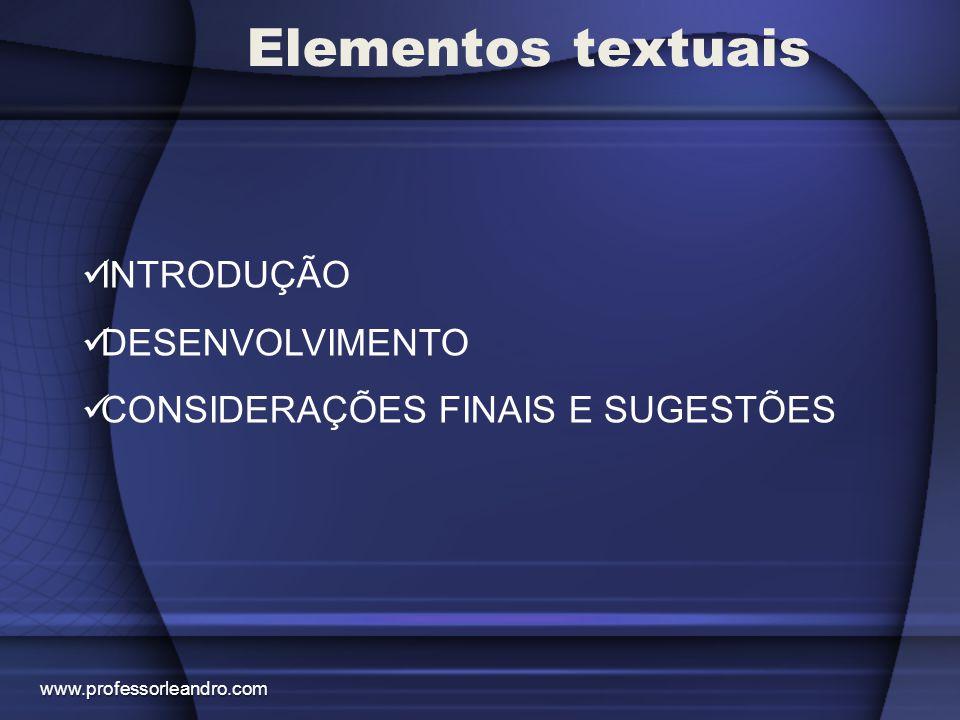 Elementos textuais INTRODUÇÃO DESENVOLVIMENTO