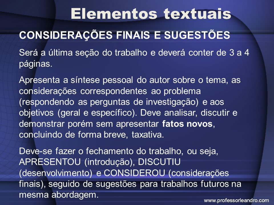 Elementos textuais CONSIDERAÇÕES FINAIS E SUGESTÕES