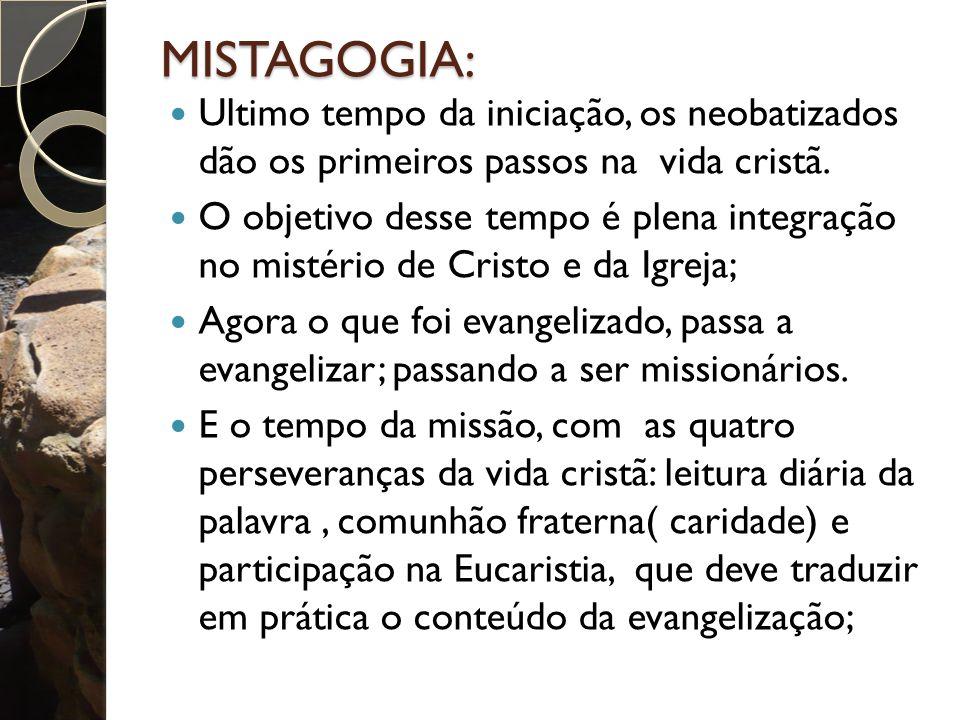 MISTAGOGIA: Ultimo tempo da iniciação, os neobatizados dão os primeiros passos na vida cristã.