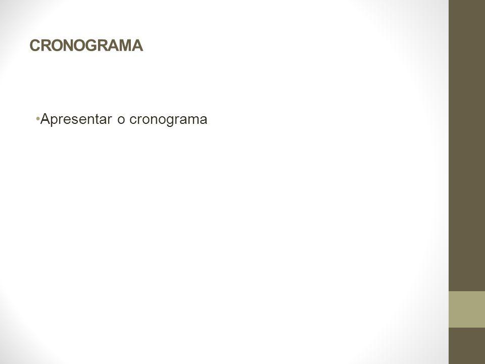 CRONOGRAMA Apresentar o cronograma Constelação de satélites do GPM