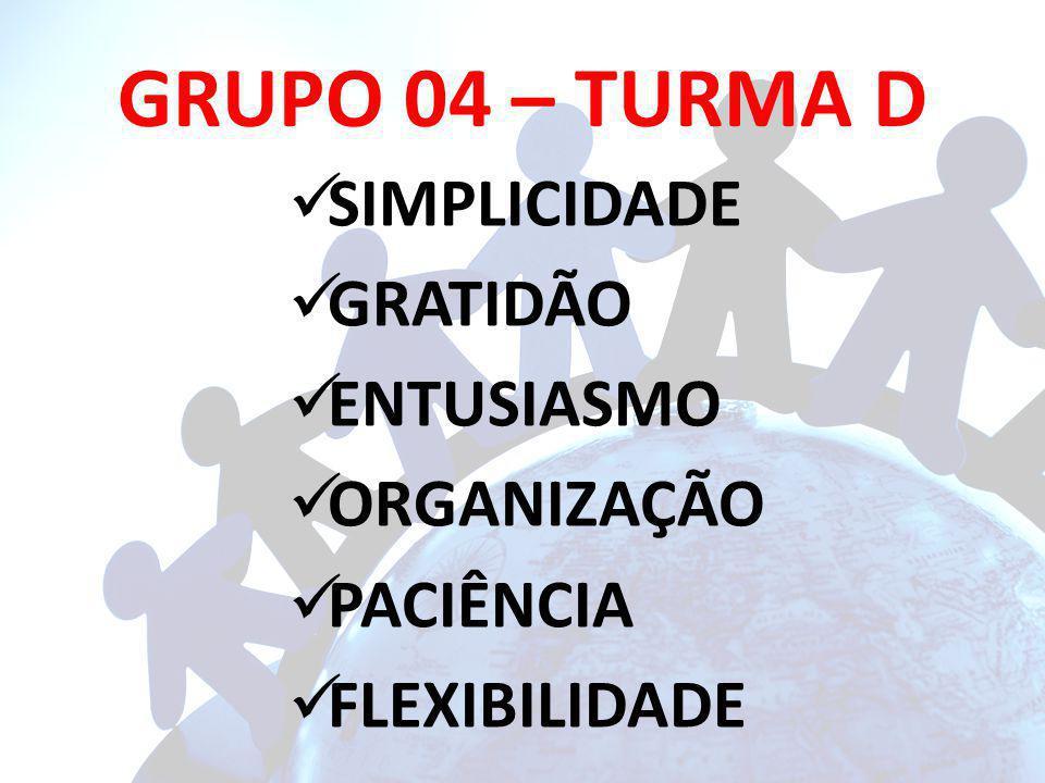 GRUPO 04 – TURMA D SIMPLICIDADE GRATIDÃO ENTUSIASMO ORGANIZAÇÃO