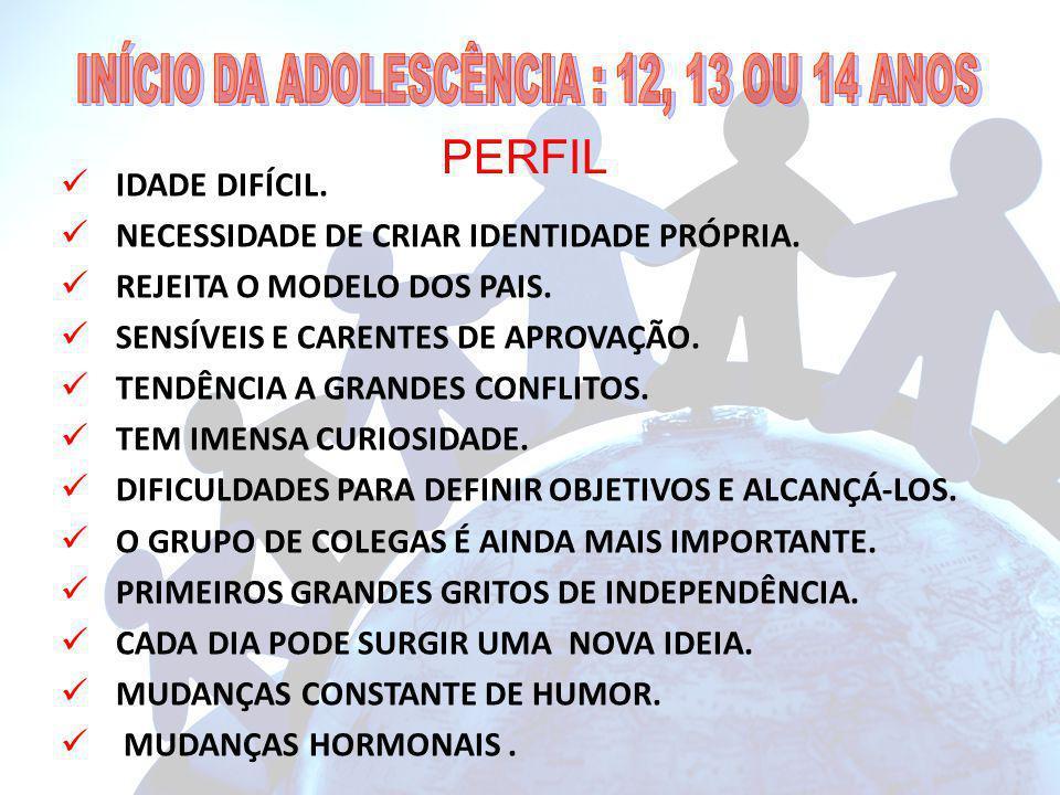 INÍCIO DA ADOLESCÊNCIA : 12, 13 OU 14 ANOS