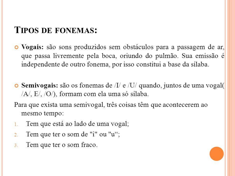 Tipos de fonemas: