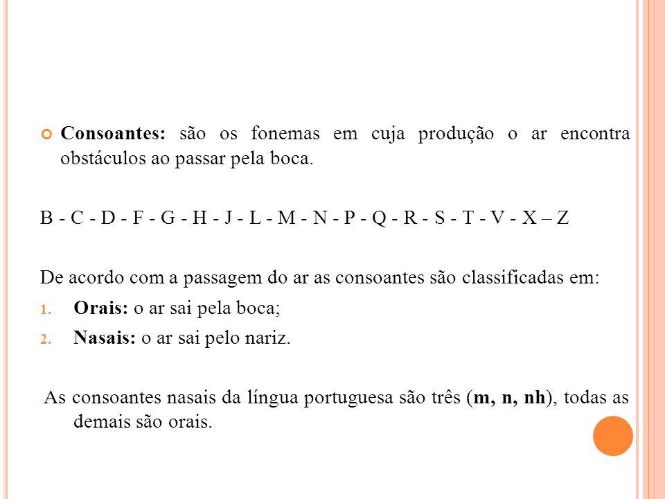 Consoantes: são os fonemas em cuja produção o ar encontra obstáculos ao passar pela boca.