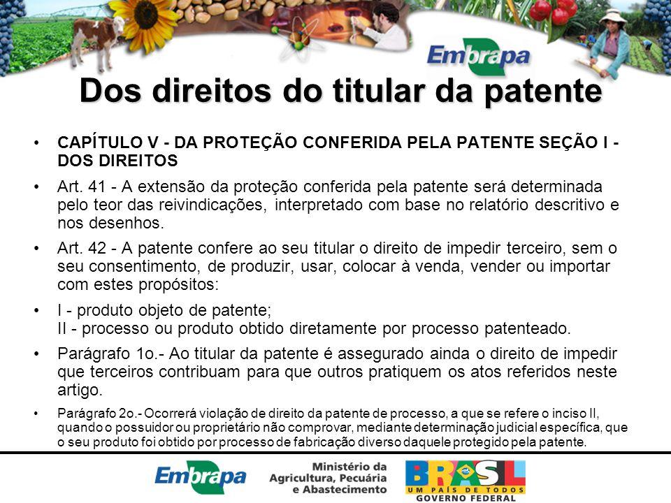 Dos direitos do titular da patente