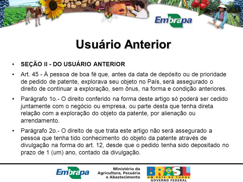 Usuário Anterior SEÇÃO II - DO USUÁRIO ANTERIOR