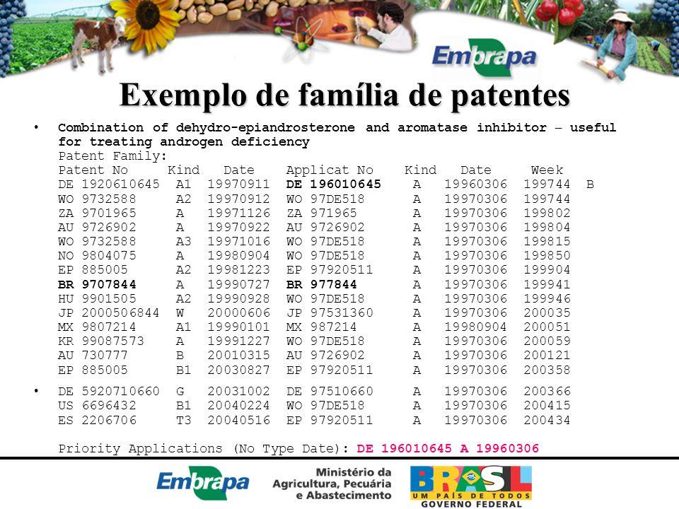 Exemplo de família de patentes