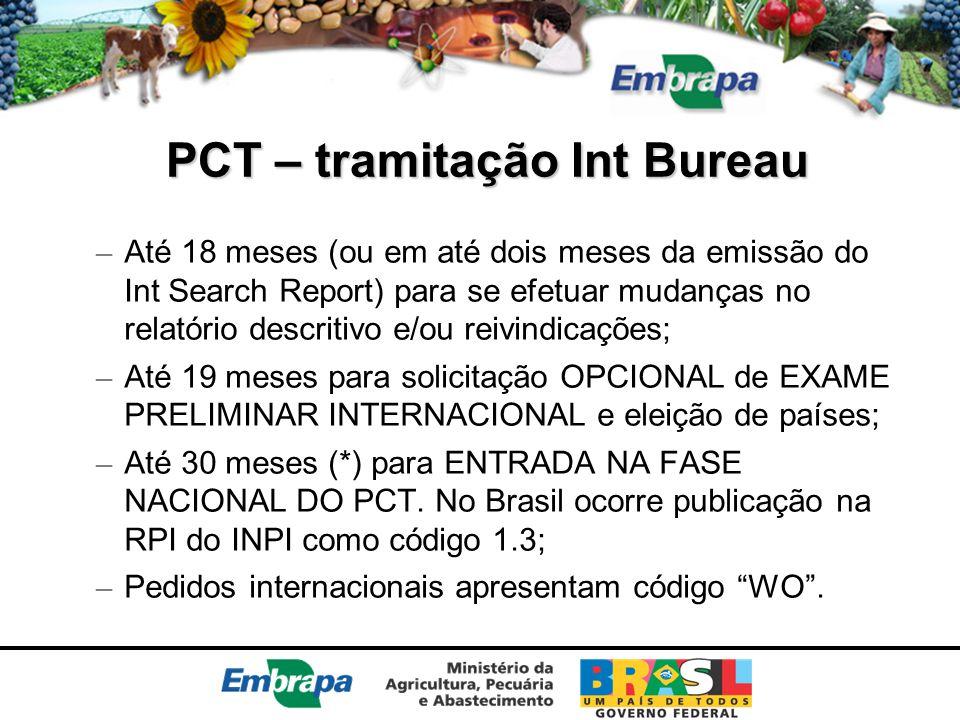 PCT – tramitação Int Bureau