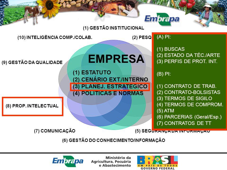 EMPRESA (1) ESTATUTO (2) CENÁRIO EXT./INTERNO (3) PLANEJ. ESTRATÉGICO