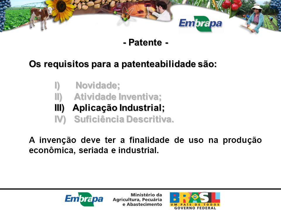 Os requisitos para a patenteabilidade são: