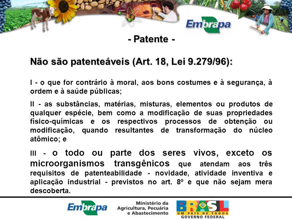 Não são patenteáveis (Art. 18, Lei 9.279/96):