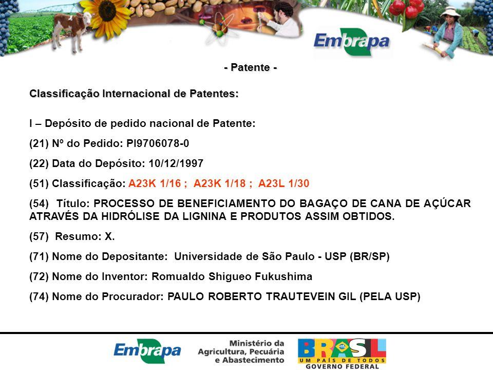 - Patente - Classificação Internacional de Patentes: I – Depósito de pedido nacional de Patente: (21) Nº do Pedido: PI9706078-0.