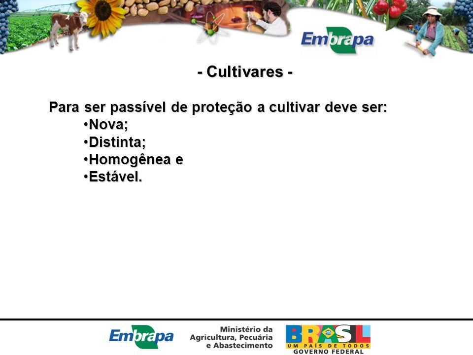 - Cultivares - Para ser passível de proteção a cultivar deve ser:
