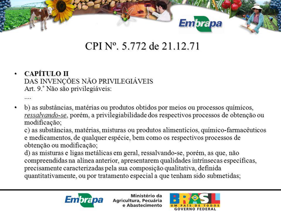 CPI Nº. 5.772 de 21.12.71 CAPÍTULO II DAS INVENÇÕES NÃO PRIVILEGIÁVEIS Art. 9.° Não são privilegiáveis: ....