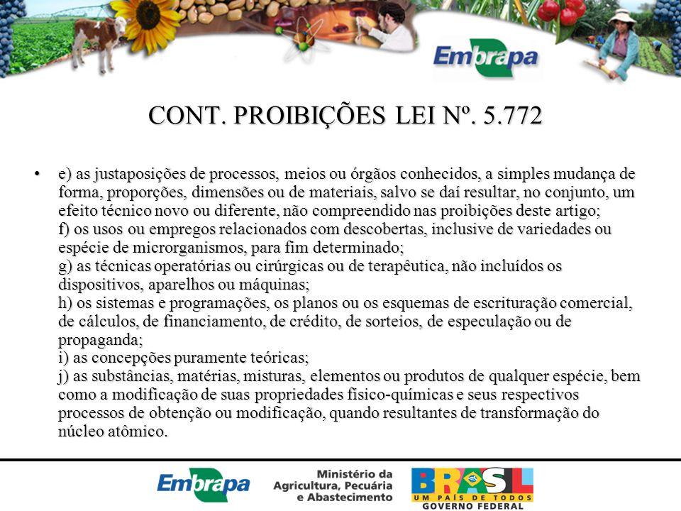 CONT. PROIBIÇÕES LEI Nº. 5.772
