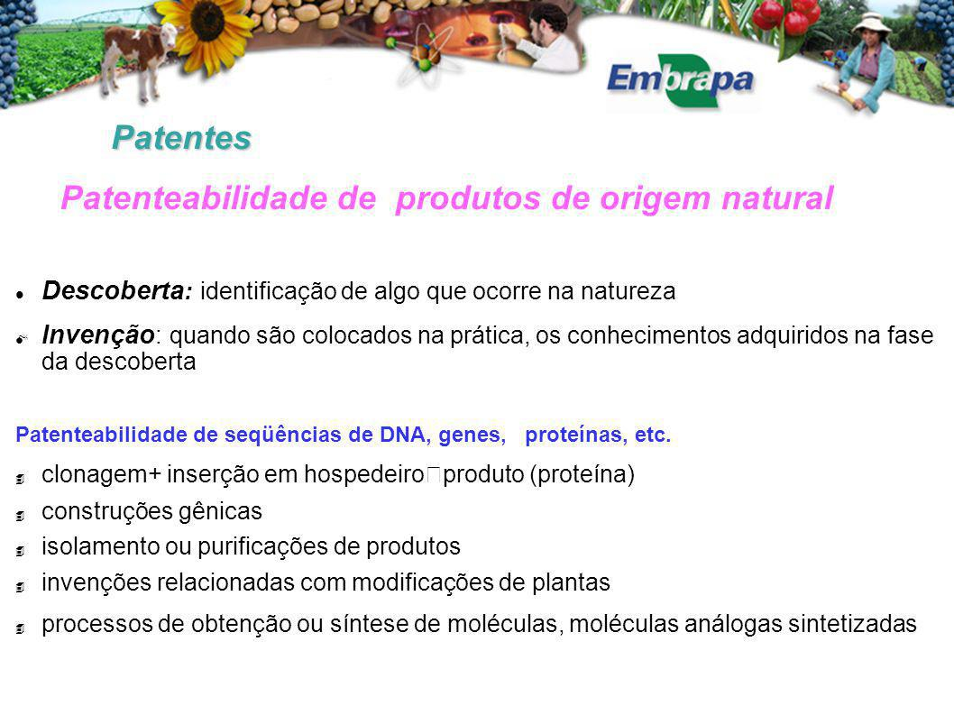 Patenteabilidade de produtos de origem natural
