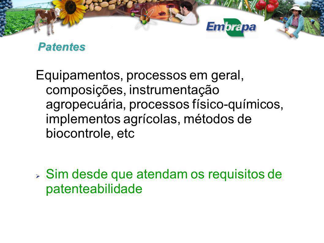 Sim desde que atendam os requisitos de patenteabilidade