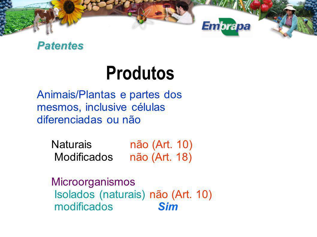 Patentes Produtos. Animais/Plantas e partes dos mesmos, inclusive células diferenciadas ou não. Naturais não (Art. 10)