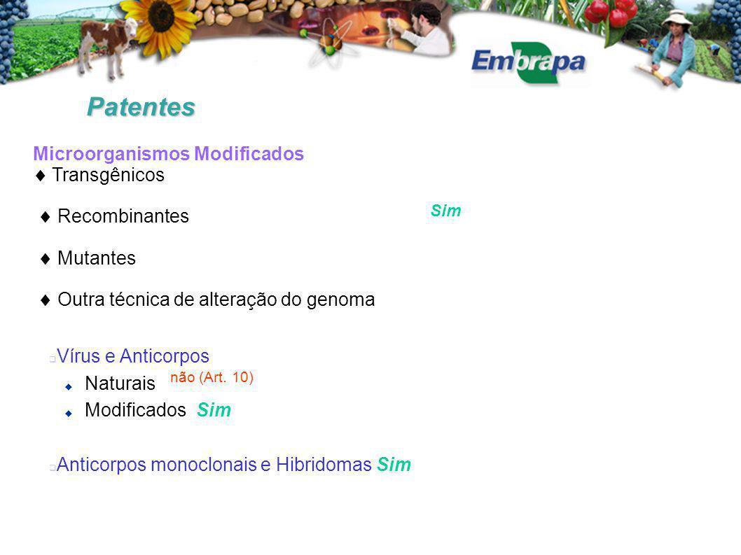 Patentes Microorganismos Modificados  Transgênicos  Recombinantes