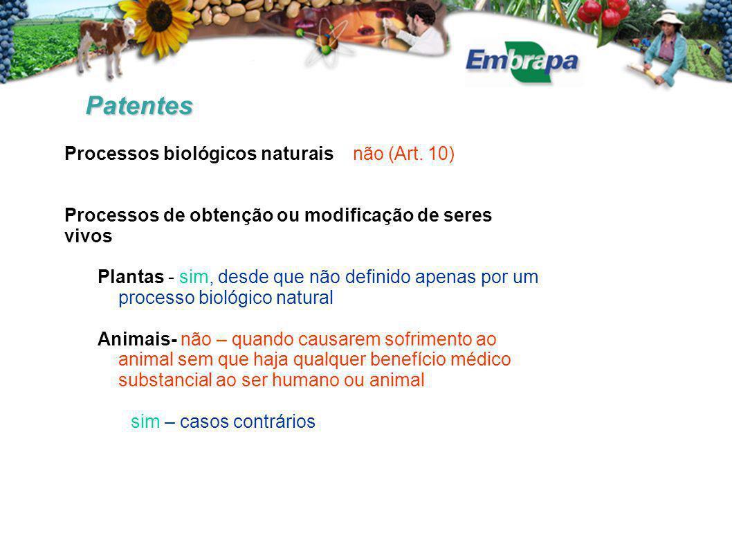 Patentes Processos biológicos naturais não (Art. 10)
